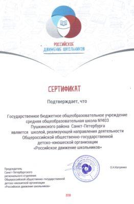 Сертификат Российское движение школьников