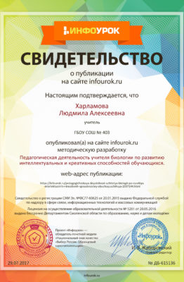Свидетельство проекта infourok.ru №615136 (2)